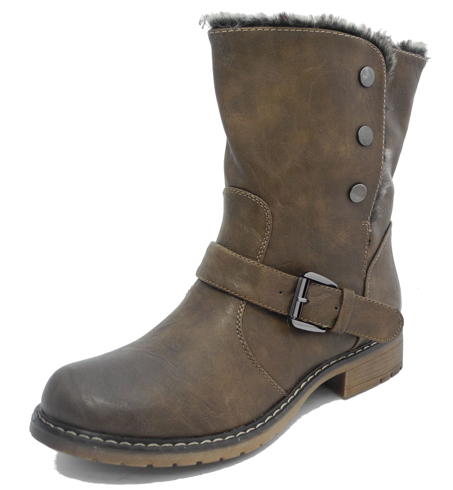 womens fold leather look fur lined biker ankle boots