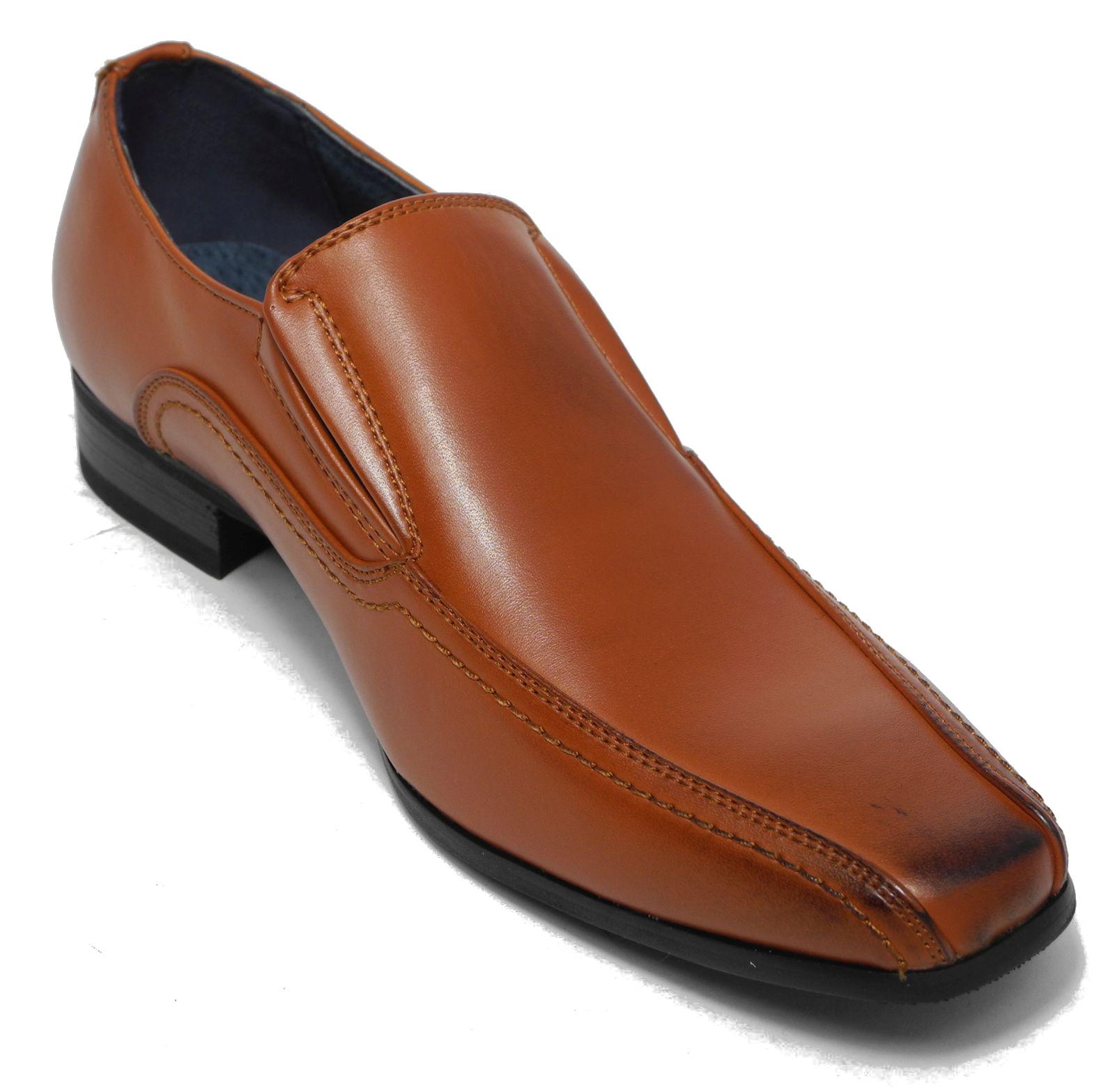 boys black leather lined slip on smart formal shoes