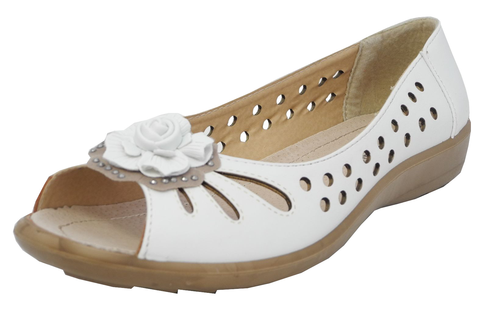 womens wide fit leather lined open peep toe flower summer