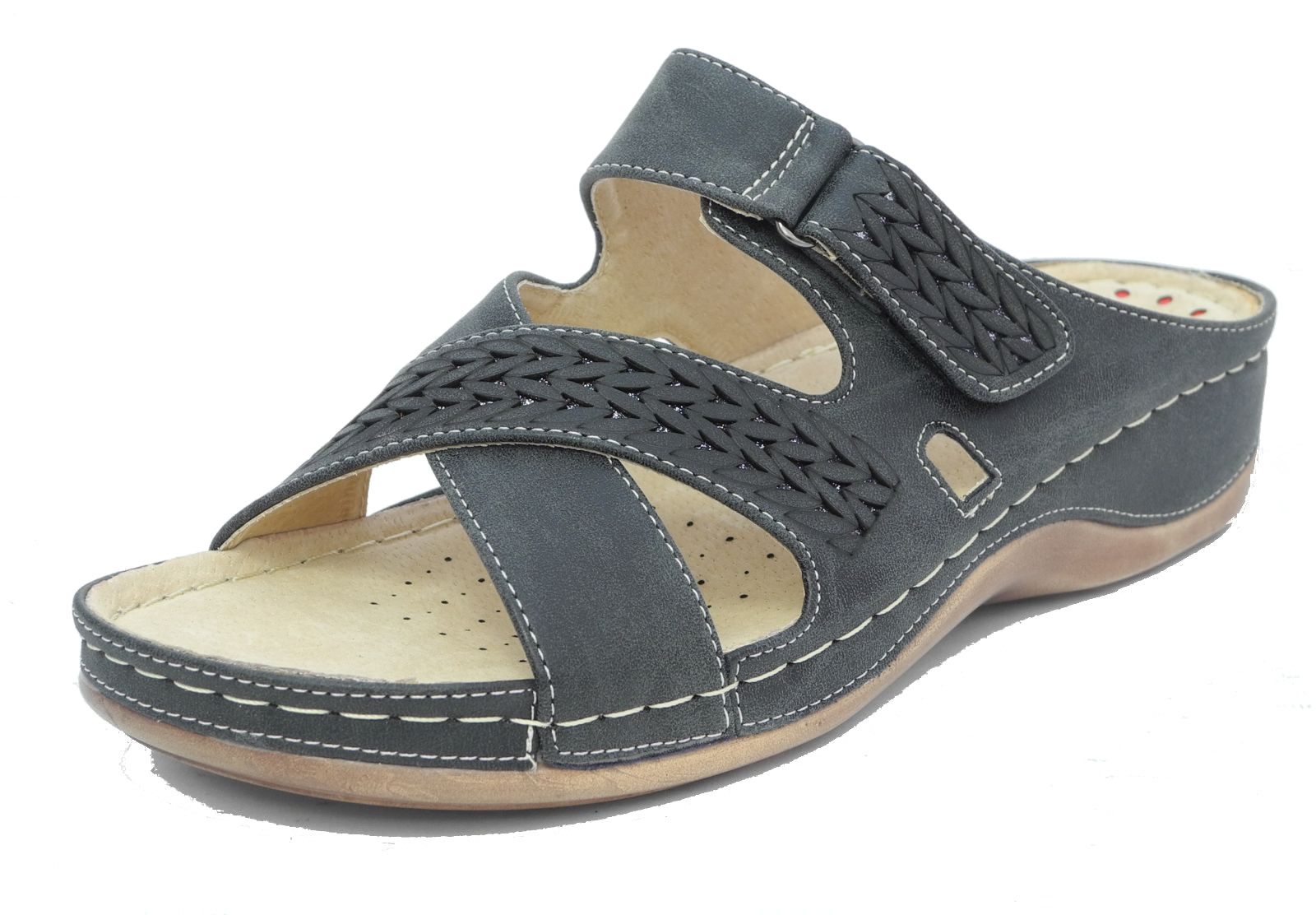 Product Features Slip-on closed-toe shoe with leather upper featuring round toe and minimal heel.
