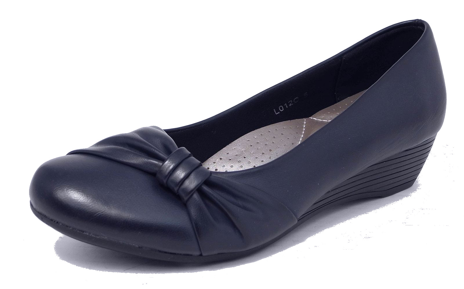 womens leather lined comfortable low wedge heel court shoes black navy ebay
