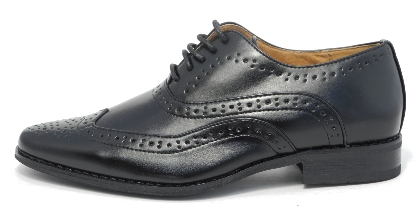 Faux leather upper Brogue detailing Rounded toe Lace-up fastening Colour block heel.