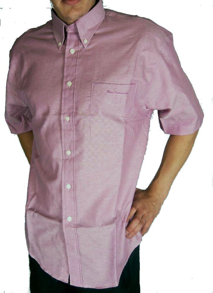 Mens Ben Sherman Oxford Style Short Sleeve Shirt Pink Ebay
