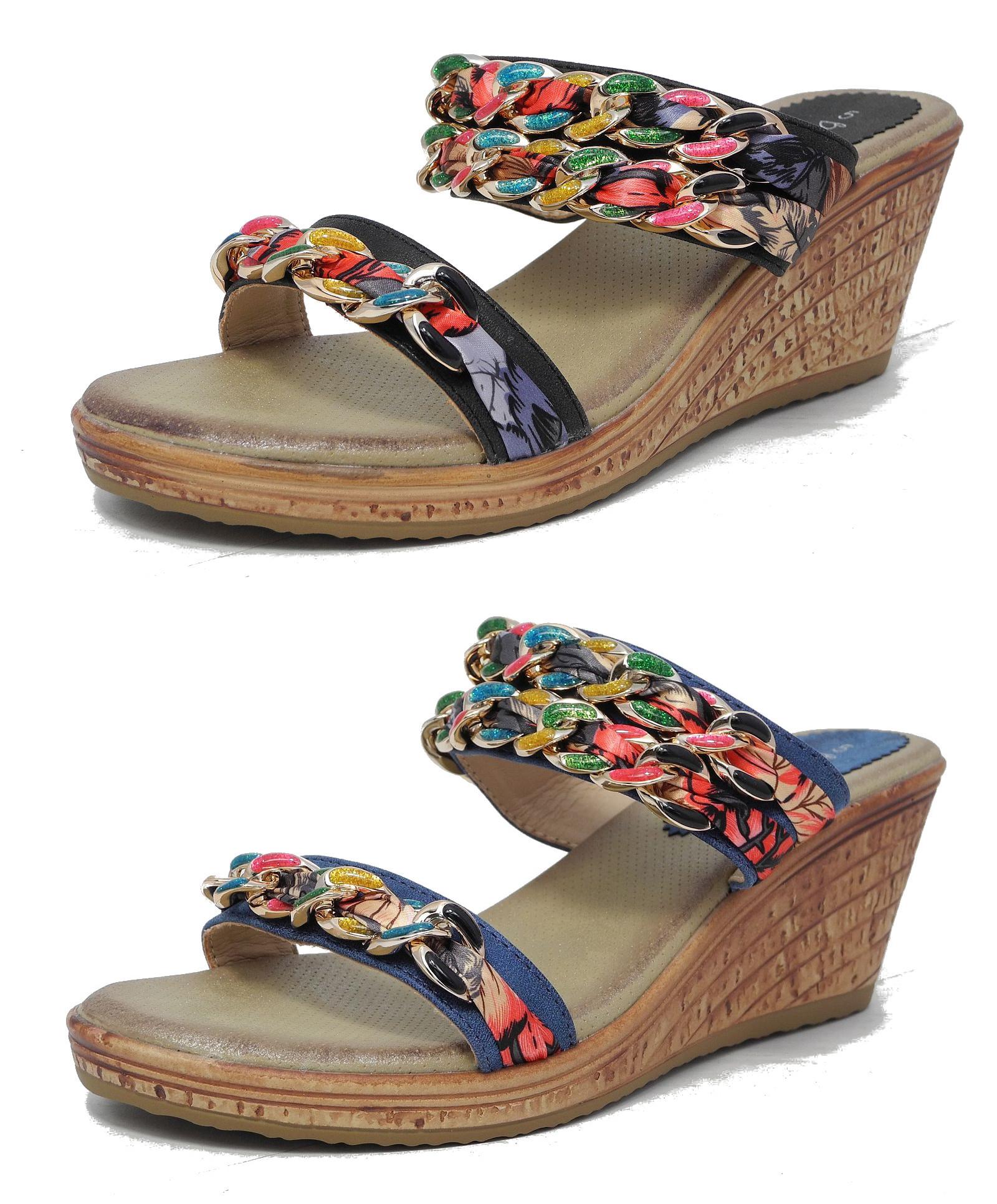 femmes coussin confort compens talon moyen sandales mules size 3 4 5 6 7 8 ebay. Black Bedroom Furniture Sets. Home Design Ideas