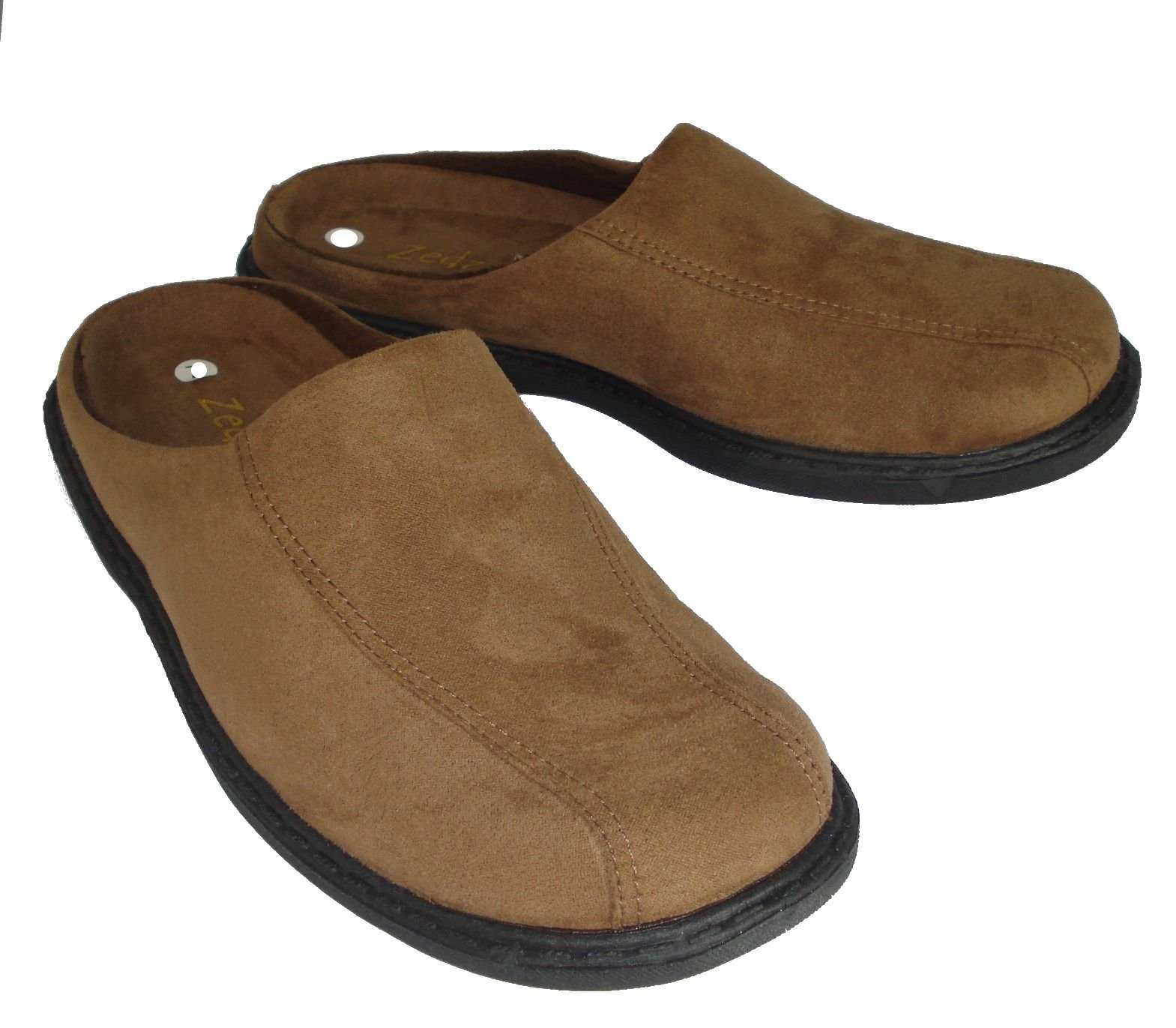 Mens-Zedzzz-Micro-Suede-Mules-Slippers-in-Blue-or-Brown-Sizes-6-to-12