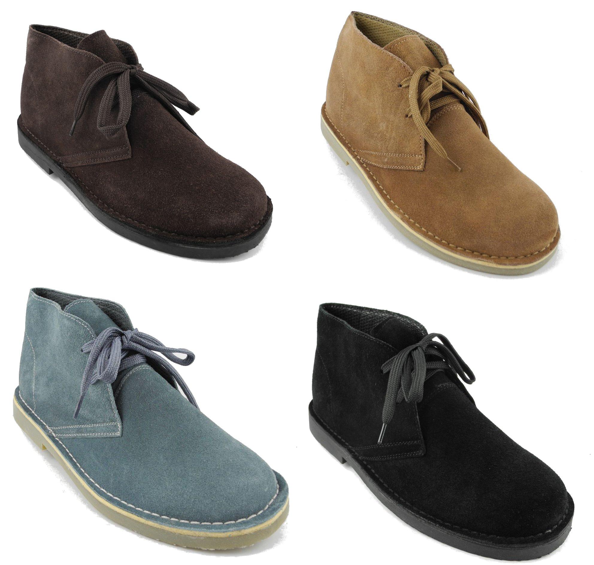 mens round toe real suede leather desert boots beige black blue brown sz 6 12 ebay. Black Bedroom Furniture Sets. Home Design Ideas