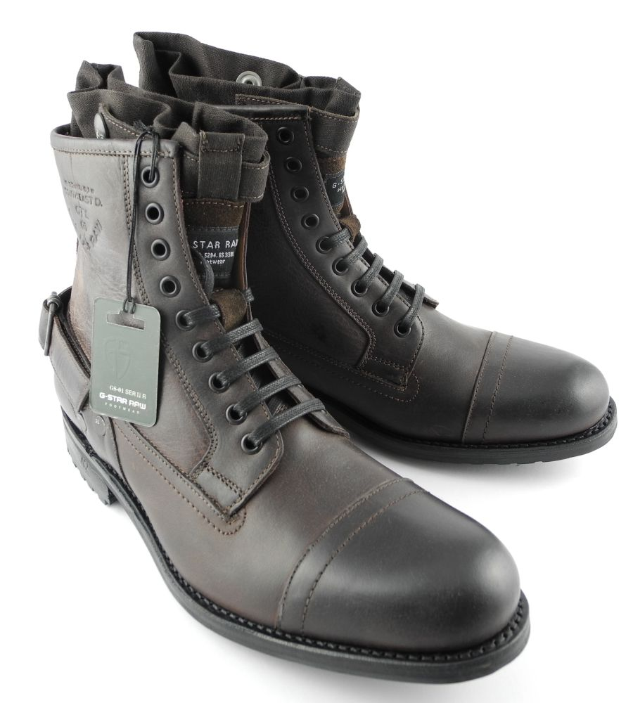 mens g star raw cinch collar leather military boots brown sizes 6 12 ebay. Black Bedroom Furniture Sets. Home Design Ideas