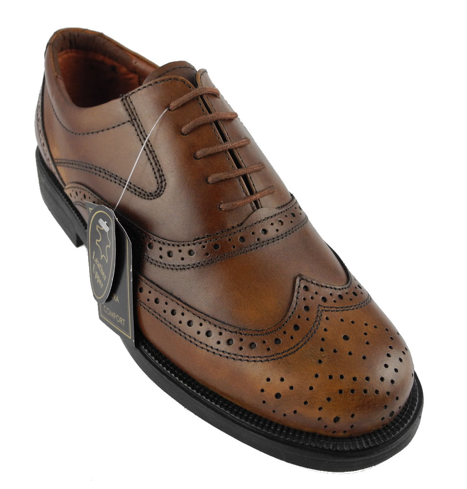 mens scimitar brown leather lace up brogues shoes wide fit