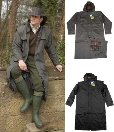 Mens Long Full Length Waterproof Riding Rain Coat Brown Or