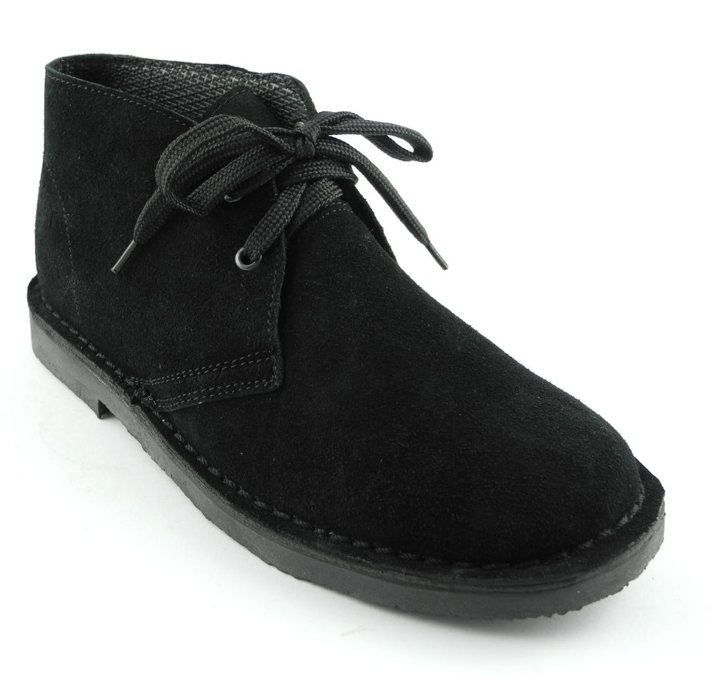 womens toe real suede leather desert boots black