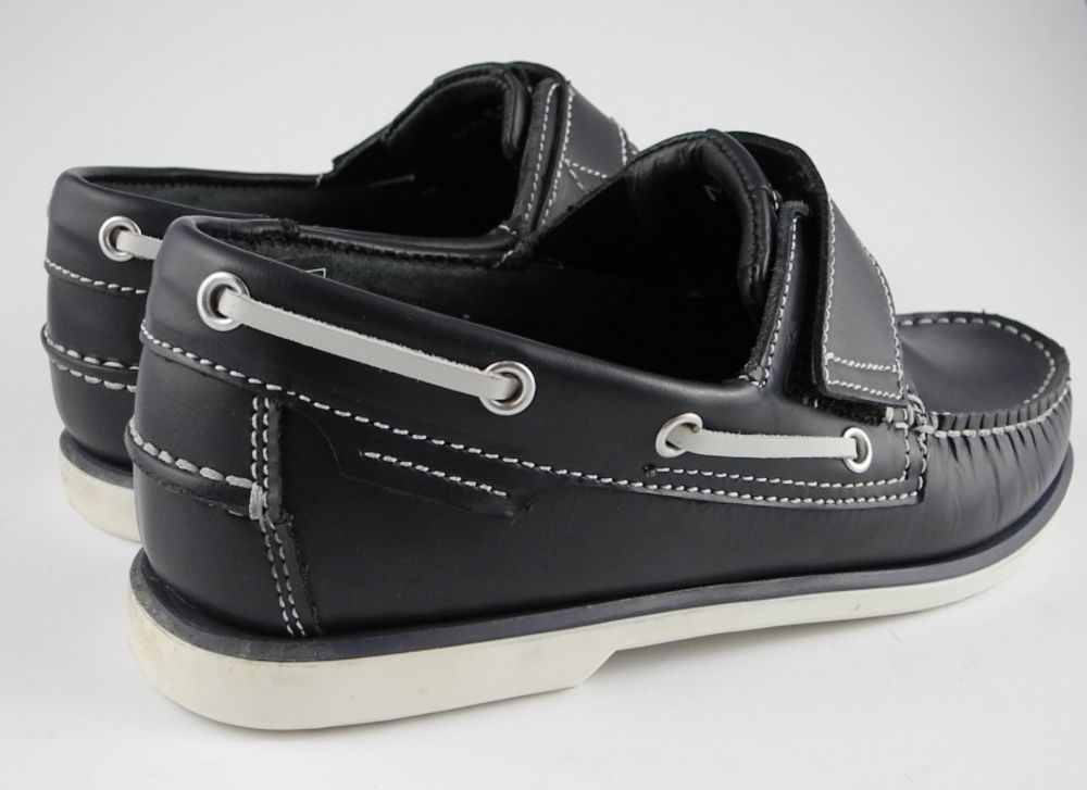 Mens DEK Navy Blue Leather Velcro Deck Boat Loafers Shoes in Sizes ...