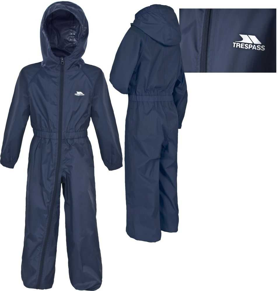 Boys TRESPASS BUTTON Waterproof All In One Rain Suit BLUE Age 6-12 months Enlarged Preview