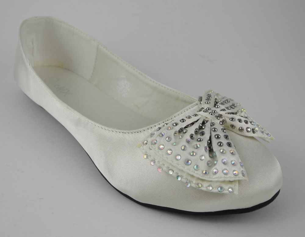 Womens Ladies Ivory Satin Wedding Bridesmaids Pumps Flat Shoes With Bow Sz 3 8