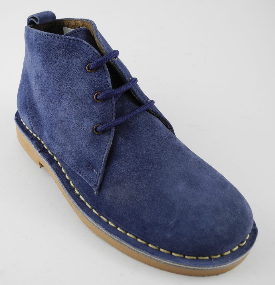 New Women Blue Nappa Desert Boots