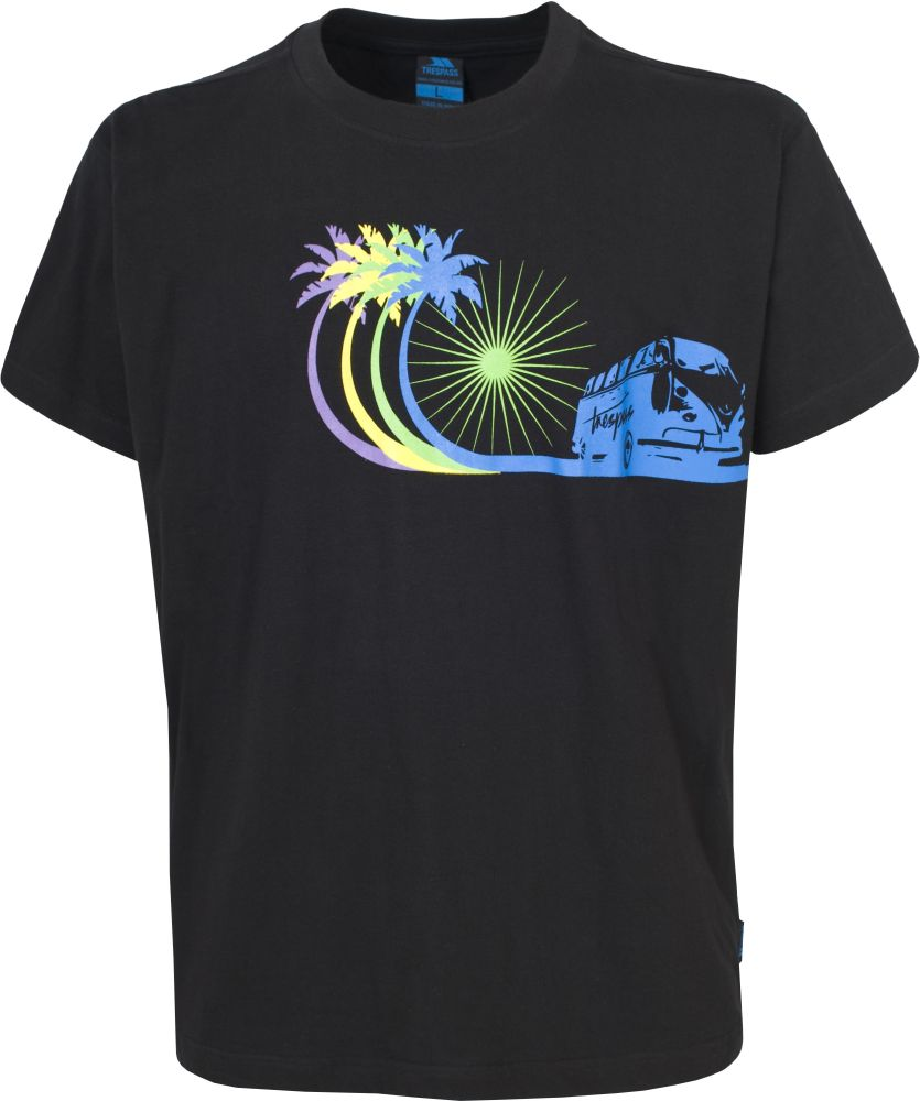 mens boys trespass campervan surf t shirt black blue or yellow age 9 xxl. Black Bedroom Furniture Sets. Home Design Ideas