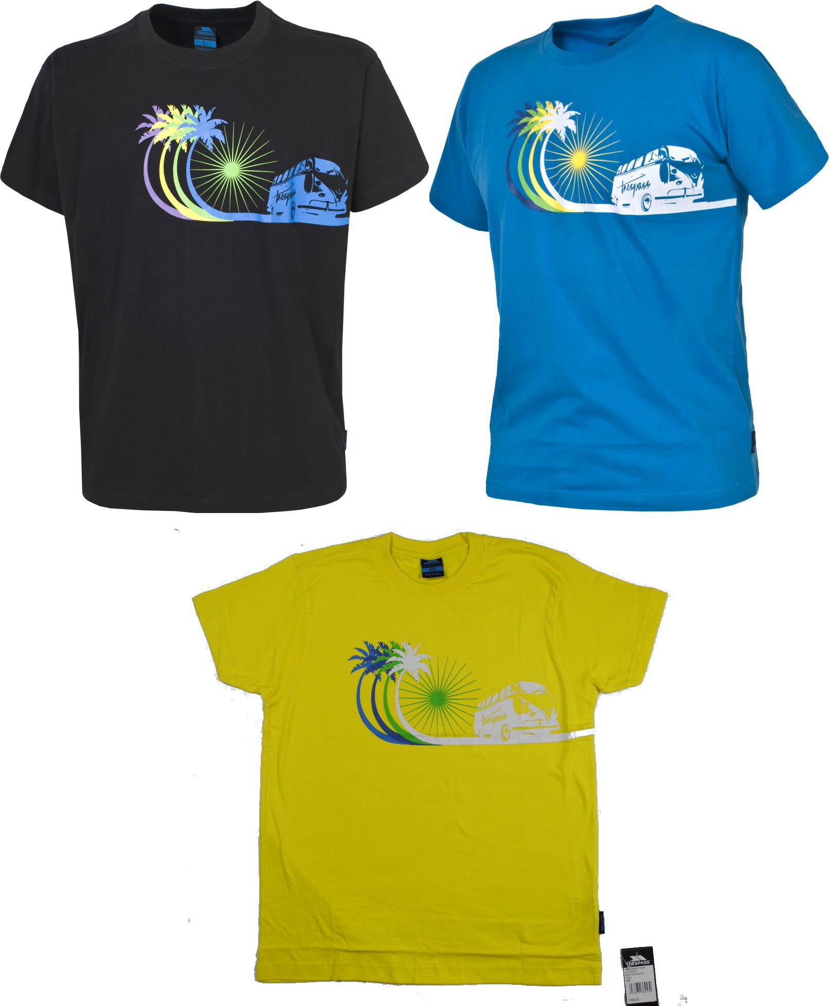 Mens Boys Trespass Campervan Surf T Shirt Black Blue Or