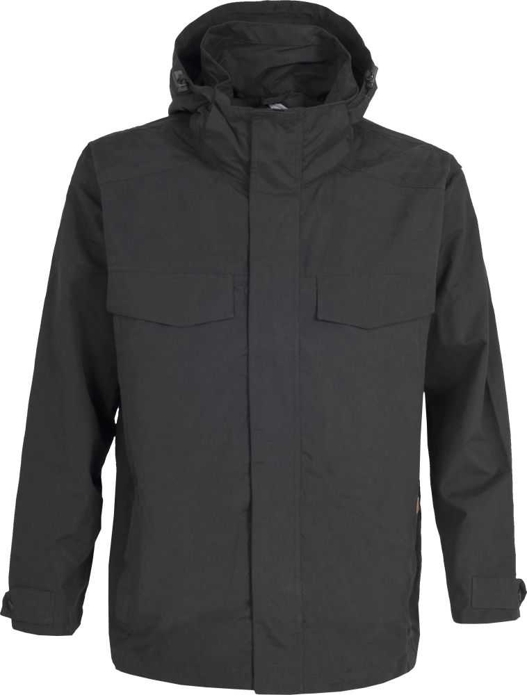 Mens TRESPASS BARTON Waterproof (5000mm) Rain Jacket Coat BLACK Sizes M-XL Enlarged Preview