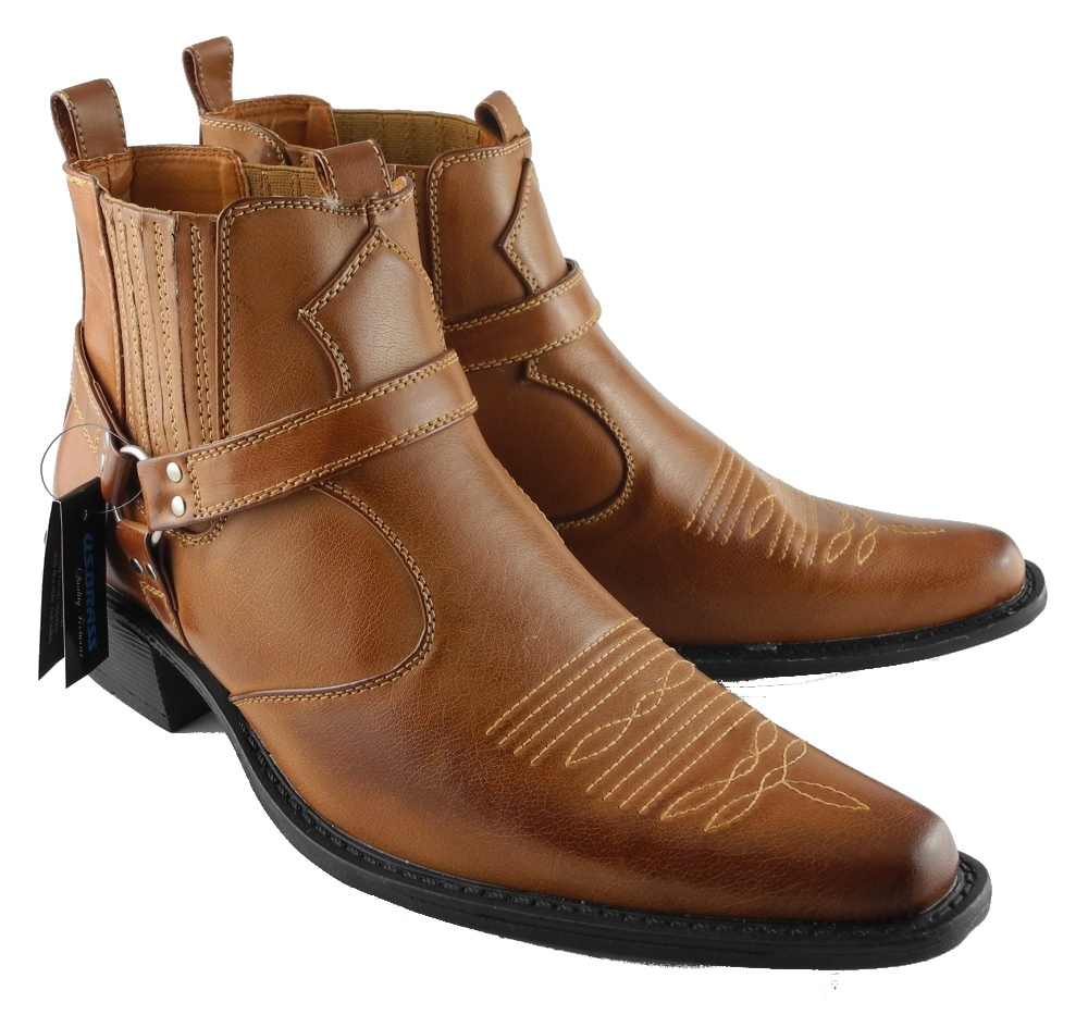 Mens-US-Brass-Tan-Leather-Look-Cowboy-Western-Hi-Ankle-Stirrup-Boots-Size-6-12