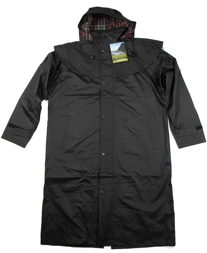 Mens Long Full Length Waterproof Riding Rain Coat BROWN or BLACK ...