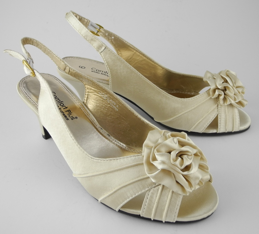 Ivory Satin Kitten Heel Shoes