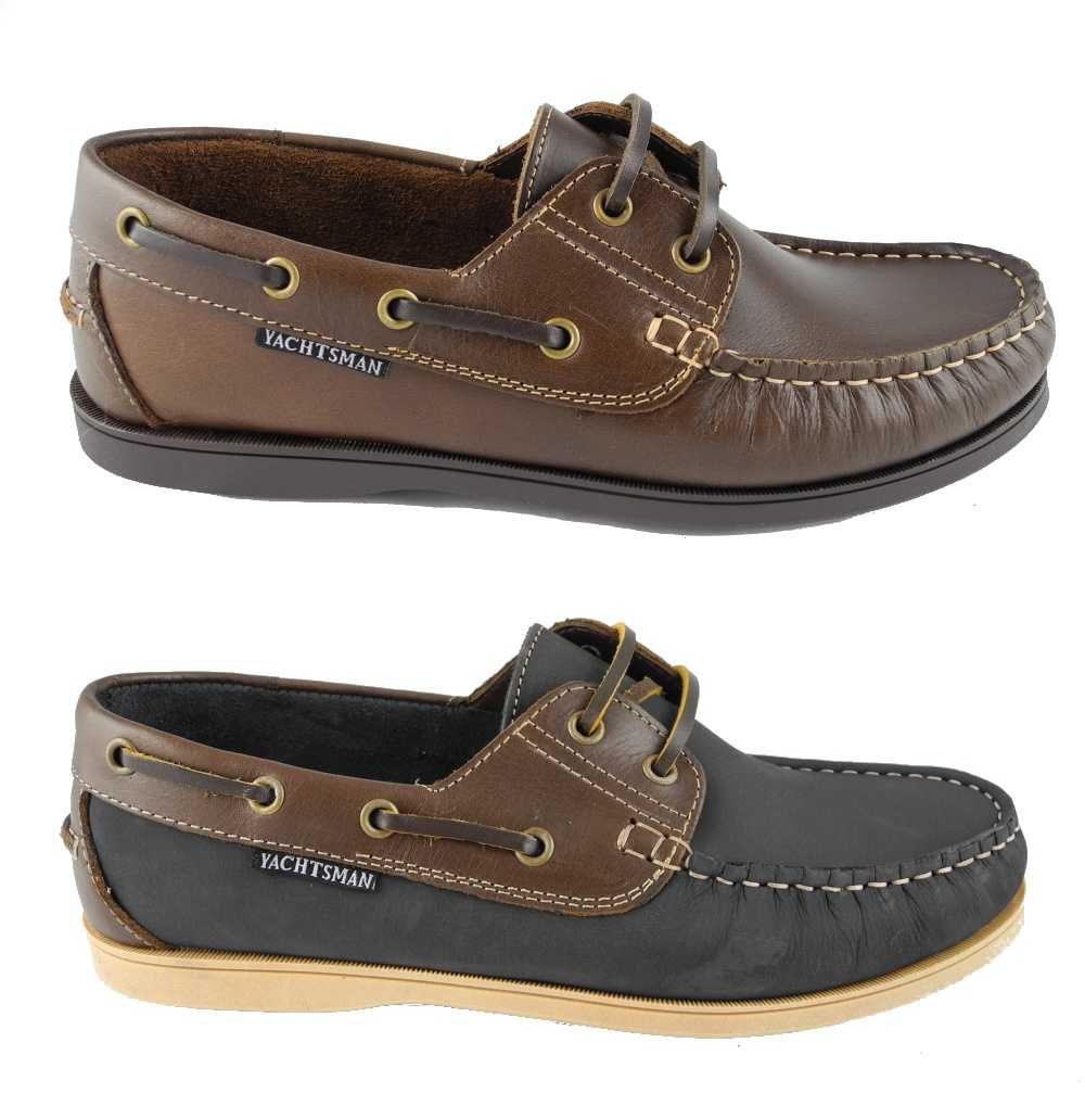 Mens Seafarer Yachtsman Leather Deck Boat Shoes Loafers BROWN BLUE ...
