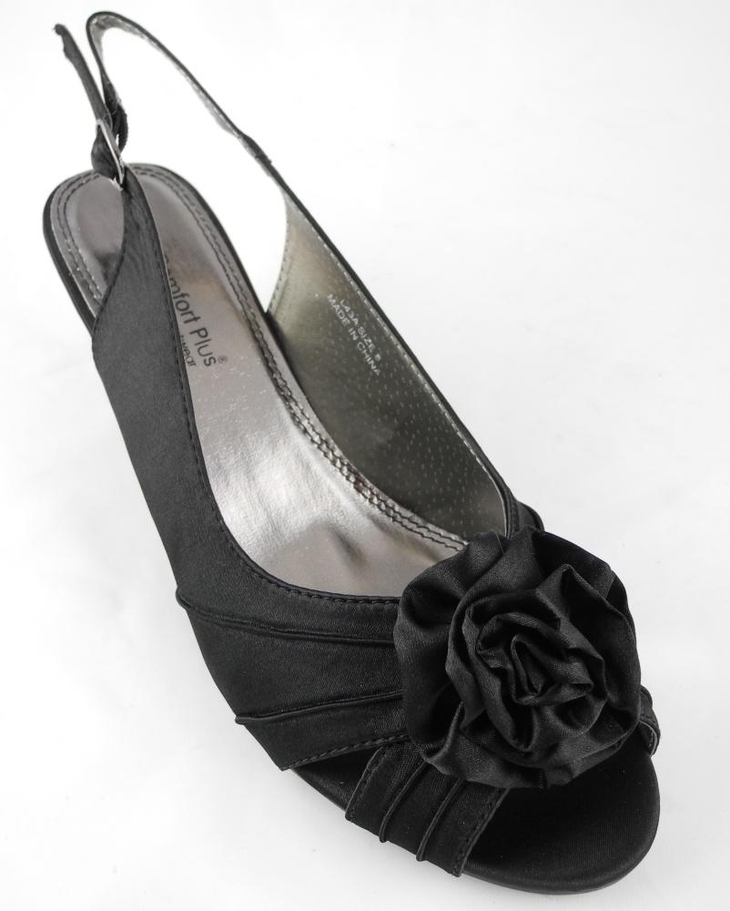 womens wide fitting kitten heel evening shoes