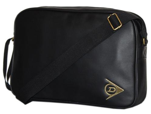DUNLOP Black Leather Look Shoulder Messenger School Flight Man Bag Enlarged Preview