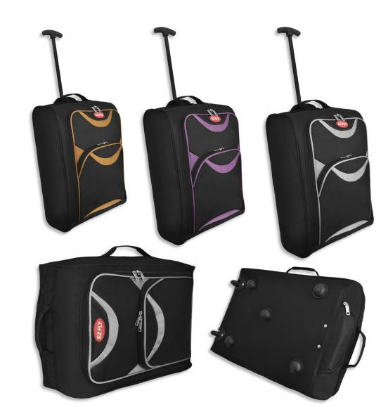 small lightweight cabin case hand luggage wheeled trolley flight bag suitcase ebay. Black Bedroom Furniture Sets. Home Design Ideas