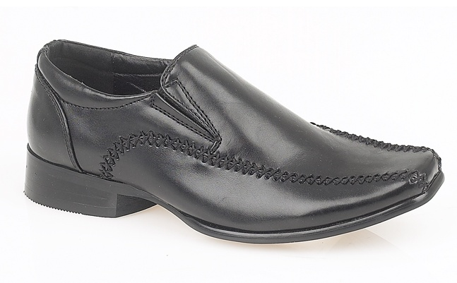 Boys Leather Look Slip On Formal Smart Wedding School Shoes Black Size 2 3 4 5 6 Enlarged Preview