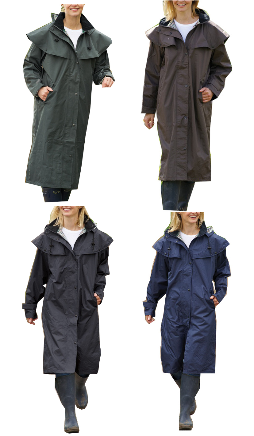 Womens Ladies Long Full Length Waterproof Riding Rain Coat Sz 10 12 14 16 18 20