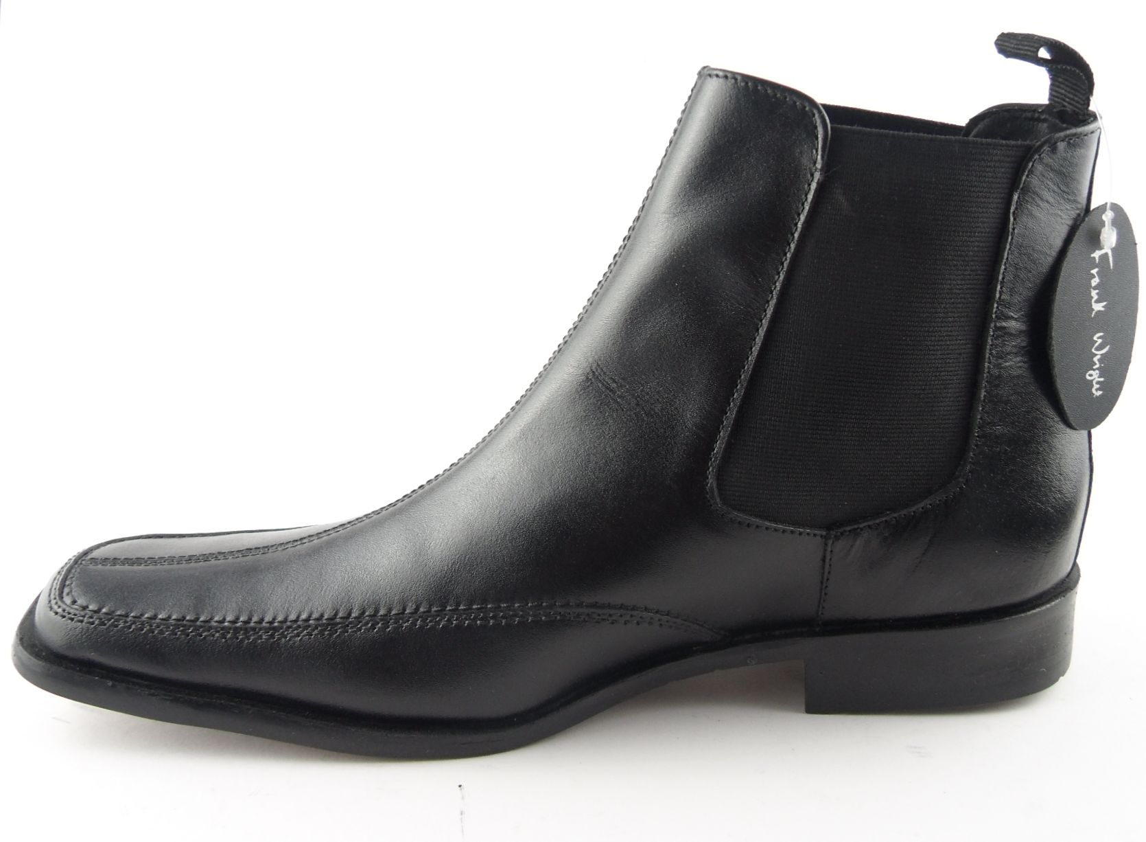 mens frank wright leather chelsea boots black size 6 11 ebay