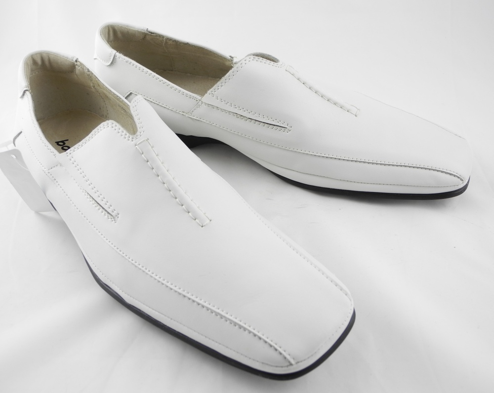 mens leather slip on loafers wedding shoes white size 6 7
