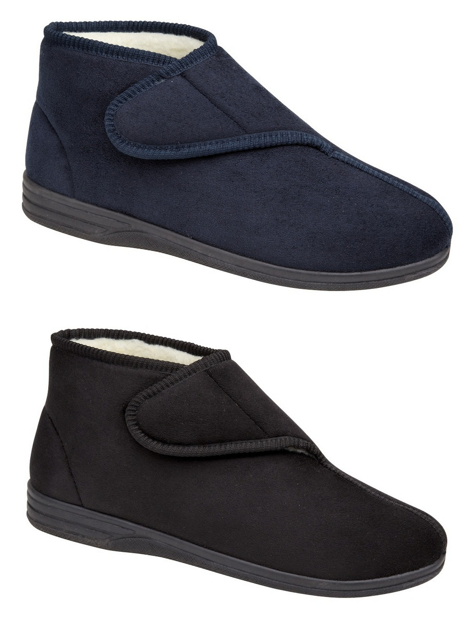 mens micro suede fur lined velcro boots slippers blue