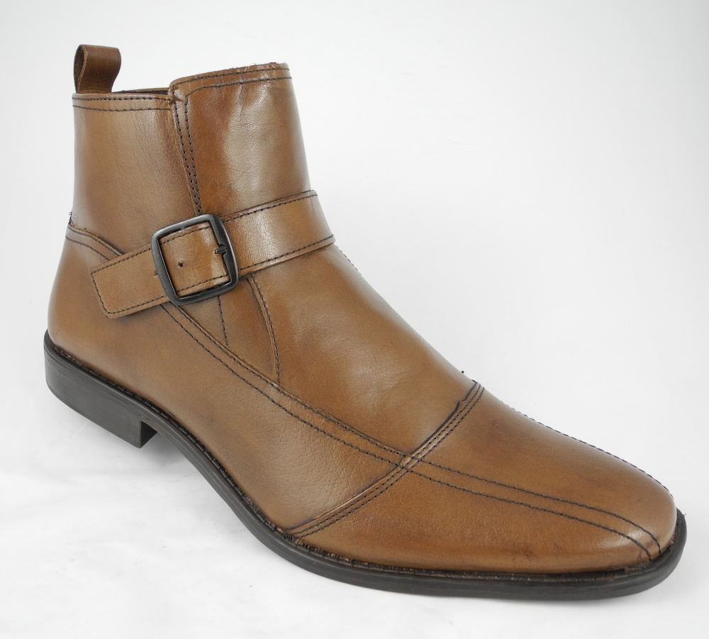 mens roamers brown leather buckle ankle boots