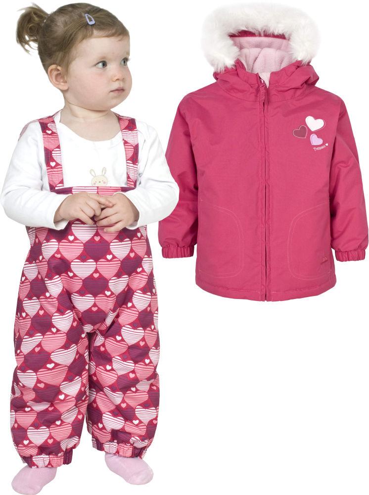 fb61aaa2b7 Girls Trespass Pink Ski Jacket Salopettes Pants Snow Suit Set 6 12 Months