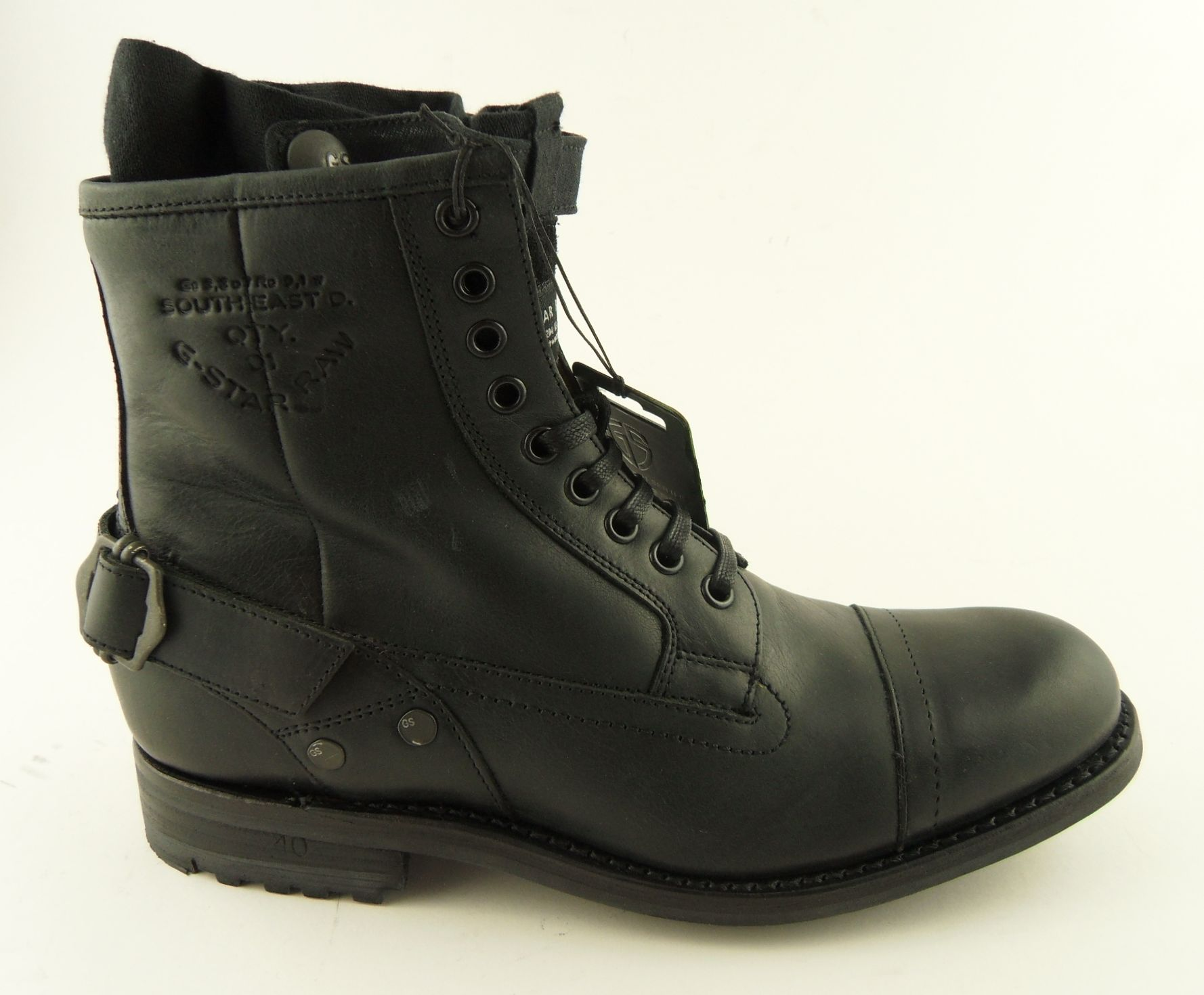 mens g star raw cinch collar black military boots 6 11 ebay. Black Bedroom Furniture Sets. Home Design Ideas