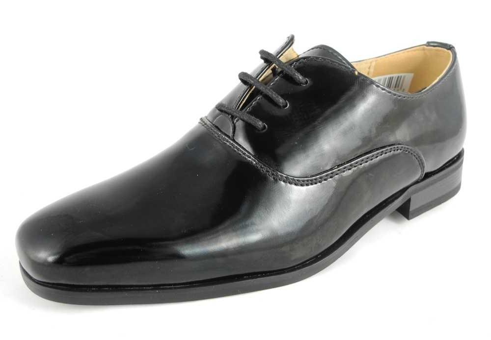 boys formal dress wedding shoes leather lined black