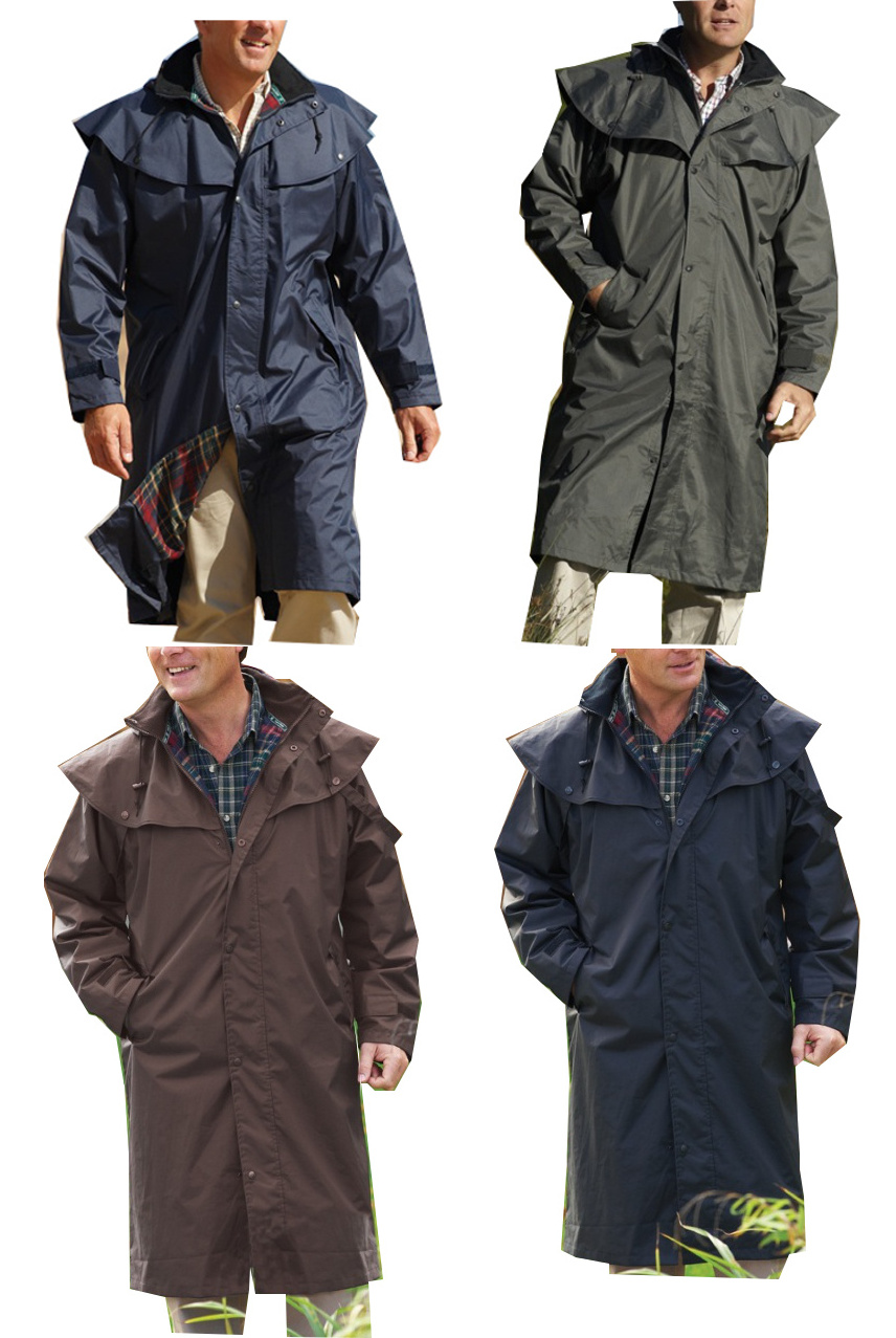 Mens Long Full Length Waterproof Riding Rain Coat BLACK BLUE BROWN ...