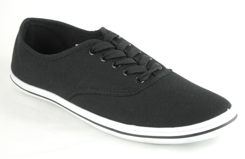 mens lace up pumps plimsolls deck shoes black or grey size