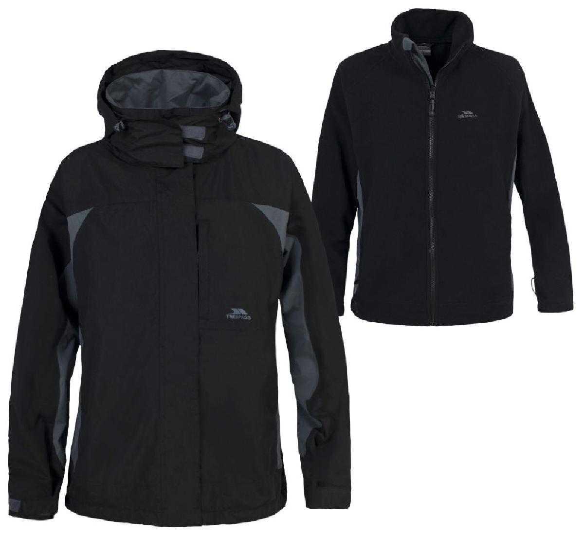 Girls-3-in-1-Trespass-Waterproof-Jacket-Fleece-Raincoats-Black-Age-9