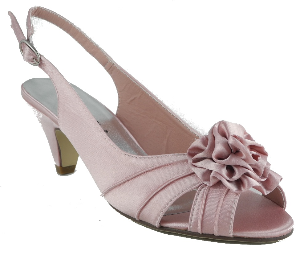 Womens Ladies Wide Fitting Kitten Heel Wedding Shoes