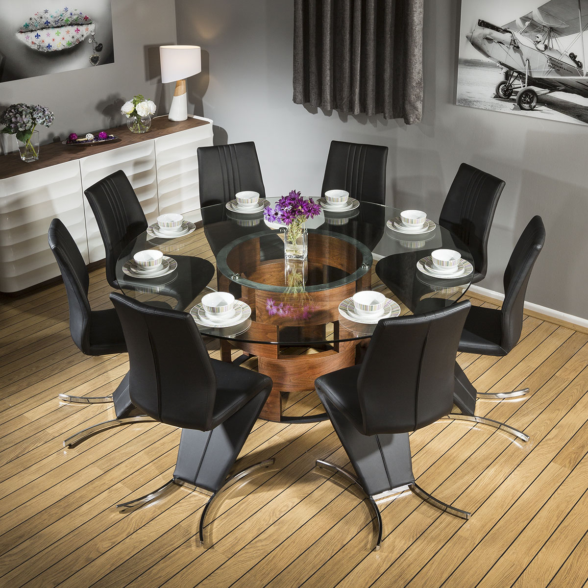 stunning round glass top walnut dining table 8 black z chairs 601