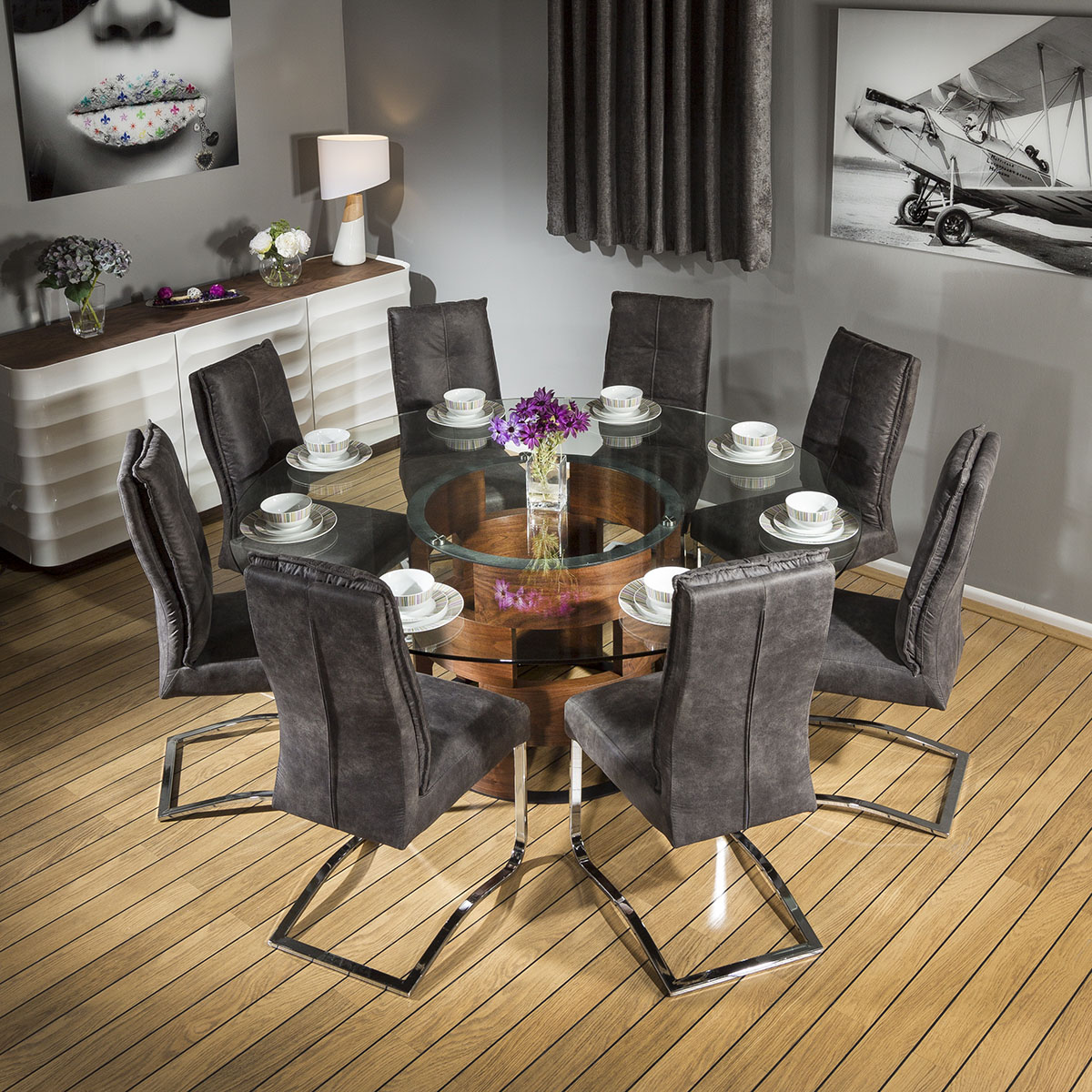 Round Dining Room Table Seats 8: Large Round Glass Top Walnut Dining Table +8 Large Padded