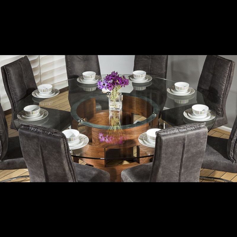 Large round glass top walnut dining table 8 large padded for Dining table support