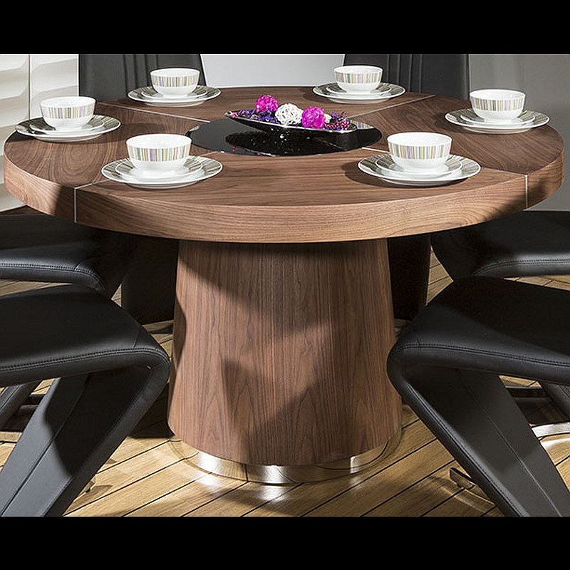 Modern 1400mm Round Walnut Dining Table 6 Beautiful Black Z Chairs EBay