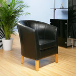 View Item AG Design Black Italian Leather Reception TUB CHAIR