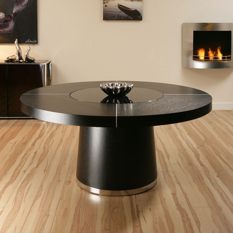 Large round black oak dining table glass lazy susan led for Black round dining table