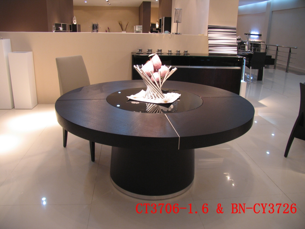 Large round black oak dining table glass lazy susan led Round dinner table for 10