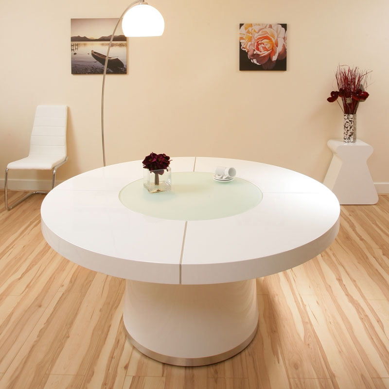 Large Round White Gloss Dining Table Glass lazy susan LED lighting 1.6 ...