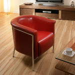View Item AG Design Red Modern Leather Reception TUB CHAIR H